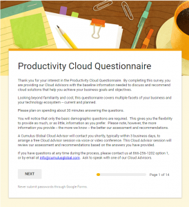 Productivity Cloud Questionnaire